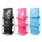 House 6 Pockets Perspective Dust-proof Hanging Wardrobe Multi-Layer Storage Bag