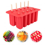 Household DIY Silicone Ice Cream Cube Mould with 10 Case