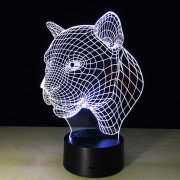Yeduo New Creative 3D Illusion Lamp Leopard Head LED Touch Switch USB Table Lamp