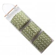 DIHE Kitchen Storage Hanging Bag Suspension Type Multilayer Cotton and Linen 3 Lattice