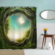Fantasy Forest Polyester Shower Curtain Bathroom Curtain High Definition 3D Printing Water-Proof