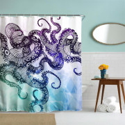 Octopus Polyester Shower Curtain Bathroom Curtain High Definition 3D Printing Water-Proof