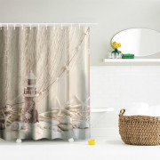 Fishing Net Lighthouse Polyester Shower Curtain Bathroom  High Definition 3D Printing Water-Proof