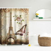 Butterfly Tower Polyester Shower Curtain Bathroom  High Definition 3D Printing Water-Proof