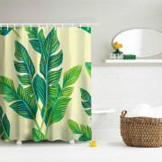 Banana Leaf with Yellow Background Polyester Shower Curtain Bathroom  High Definition 3D Printing Water-Proof