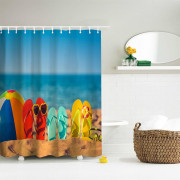 Funny Beach Shoes Polyester Shower Curtain Bathroom  High Definition 3D Printing Water-Proof