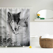 Couple Wolves Polyester Shower Curtain Bathroom Curtain High Definition 3D Printing Water-Proof