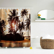 The Setting Sun Polyester Shower Curtain Bathroom Curtain High Definition 3D Printing Water-Proof