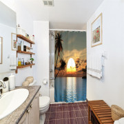 Sunset Glow Polyester Shower Curtain Bathroom Curtain High Definition 3D Printing Water-Proof