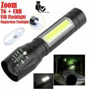 T6 USB Rechargeable COB LED Flashlight Torch Lamp Light Camping Bulb Portable