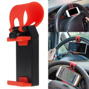 1× Car Interior GPS Phone Holder Mount Stand Steering Wheel Clip Accessories Red